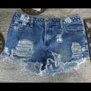 Uniquely UPCYCLED Distressed Jean Shorts